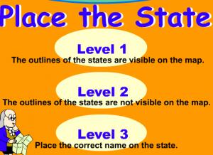 locate states smartboard game