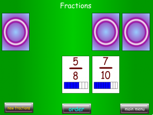 order fractions decimals whole numbers smartboard game