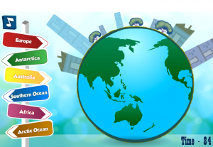 continents and oceans labeling smartboard game