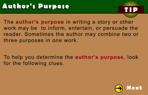 author's purpose smartboard game