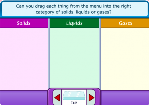 solids, liquids and gases smartboard game