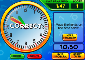 telling time smartboard game