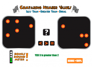 comparing number values smartboard game