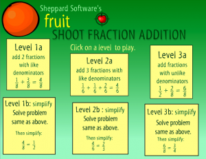adding fractions smartboard game