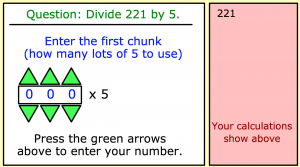 division using the chunking method smartboard game