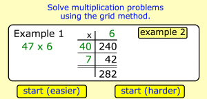 grid method multiplication smartboard game