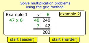 grid method multiplication smartboard game