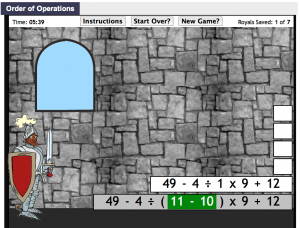 order of operations smartboard game