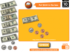 counting money smartboard game