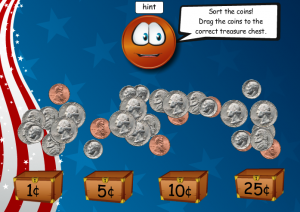 learning coins smartboard game