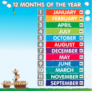 months of the year smartboard game