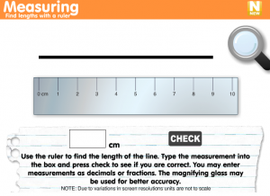 measuring with a ruler smartboard game